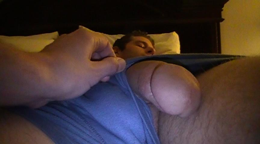 Girl plays with sleeping guys dick video